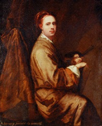 portrait of the artist holding a palette and brushes by william aikman