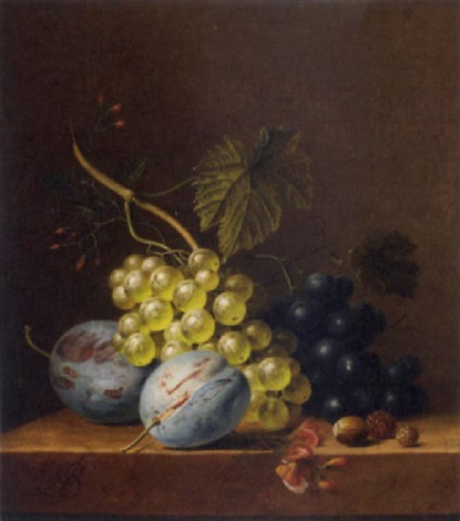 grapes plums rasberries and an acorn on a wooden ledge by arnoldus bloemers