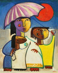 mother & children with umbrella by angel botello