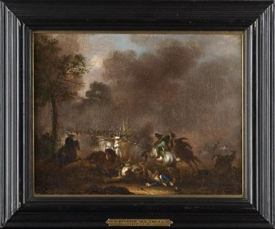battle scenes (pair) by alexander van gaelen