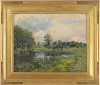 landscape with pond by clifford grear alexander