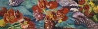 bouquet aux tulipes et à la tenture bleue by louis valtat