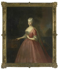 portrait of friederike luise, margravine of ansbach (1714 – 1784), three-quarter length, wearing a pink dress and standing in a walled garden by antoine pesne