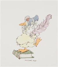 drawing of mother goose perches on a book by maurice sendak