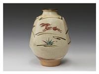 tetsu-byo red flower vase with rabbit design by fujimoto yoshimichi