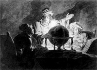 astronomers at a table by candlelight by michiel versteegh