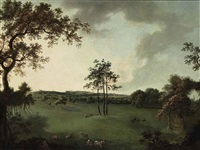 a view in leicestershire with a church (melton mowbray?) in the distance by william tomkins
