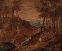 jagdgesellschaft an einer bewaldeten flusslandschaft by hans von linprun