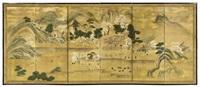 hügeln und bergen eingebetteter shinto-schrein zur kirschblütenzeit (in 6 parts) by japanese school (18)
