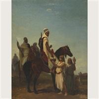 cavaliers arabes acceptant du lait dans le desert by louis eugène ginain