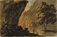a ravine with figures on a river bank by robert adam