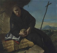 saint francis in meditation, holding a skull by francesco zugno the younger