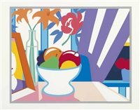 still life with lillies and mixed fruit by tom wesselmann
