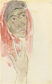 tête de femme (+ trois personnes et un canard, verso) by paul gauguin