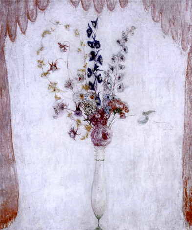 delphiniums and columbine by florine stettheimer