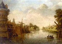 a dutch town on a canal with figures in a boat by theodor (dirk) verryck