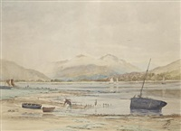 mother and child by a fishing boat by cathcart william methven
