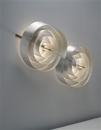 monumental and rare double-spiral wall light, designed for the scala cinema and concert hall, aarhus theatre by poul henningsen