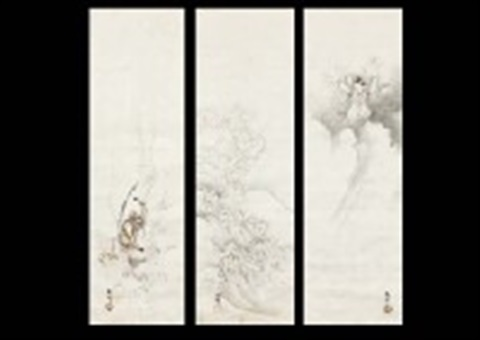 god in the steam / mt. fuji / lightening god (set of 3) by hashimoto gaho