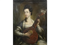 portrait of a lady, said to be signora majendie, three-quarter-length, playing a mandolin by john lewis