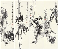 梅兰竹菊 (4 works) by lin jinding