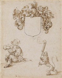 a double-sided sheet of studies with a man eating, a rampant lion, coat-of-arms and other figures by jost amman