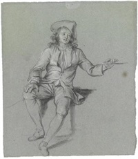 seated boy in a tricorn hat by charles-antoine coypel