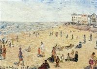vue de plage animée by henri victor wolvens