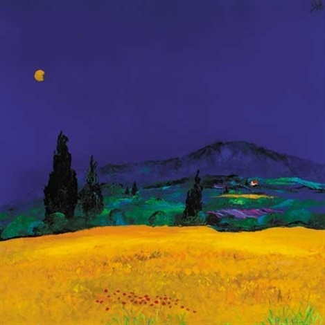 yellow field mount st victoire aix en provence by david gordon hughes