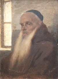 portrait d'un vieil homme juif by alfred van (jacques) muyden
