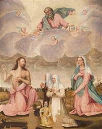 trinità con la vergine e tre devote by pier francesco di jacopo foschi