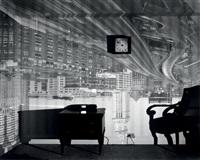 camera obscura, image of boston's old custom house in hotel room by abelardo morell