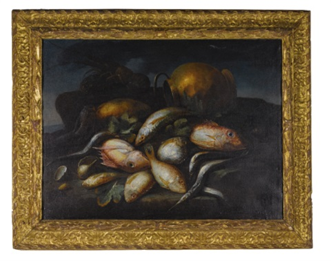 still life of saltwater fish a lobster and a brass pot upon a sea shore by elena recco