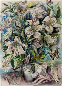 lilies in a vase by david fredenthal