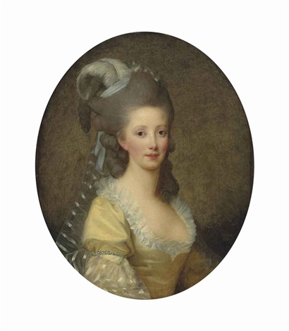 portrait of a woman half length in a yellow dress and white collar with a plumed headdress by elisabeth louise vigée le brun
