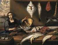 fishwife at a fish-stall by willem ormea