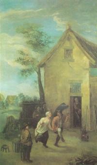aldeanos bailando by jean antoine de poorter