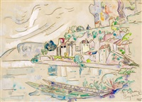 vue des berges de la dordogne à beynac by paul signac