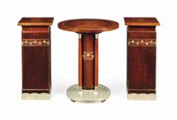 table and pair of pedestals (3 works) by joseph maria olbrich