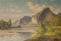les rives du drac. vue sur la chartreuse et le casque du néron. by jacques-louis gay