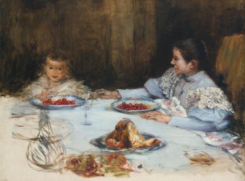 mere et enfant aux cerises by norbert goeneutte