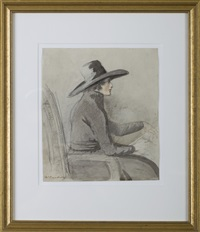 self-portrait of the artist sketching by henry william bunbury