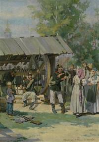 soldiers resting by the well by nikolai dmitrievich dmitriev-orenburgsky