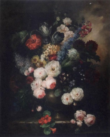roses peonies daisies anemones and other flowers in an urn on a stone ledge by francois gabriel