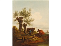 figures, cattle and sheep in a landscape with windmill beyond by frans swagers