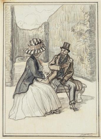 un couple d'élégants dans un parc, devant une fontaine by maxime dethomas