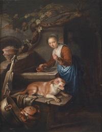 eine junge frau am brunnen mit einem hund by gerrit dou