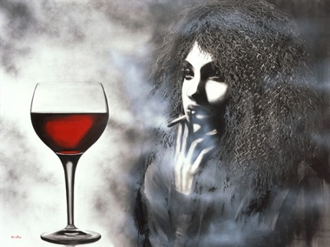 wine and cigarette by amalia haas