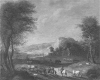 an idyllic landscape with a farm and figures meeting on a path by jakob christian (christoph) seng