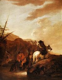 berglandschaft mit drei reitern an einer furt by dirk stoop